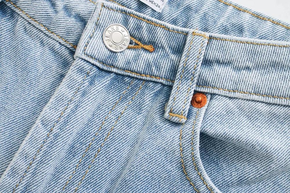 Za Vintage Mom Jeans Hoge Taille Jeans Vrouw Ripped Boyfriend Jeans Voor Vrouwen Koreaanse Stijl Verontruste Jeans Blauw Denim Broek