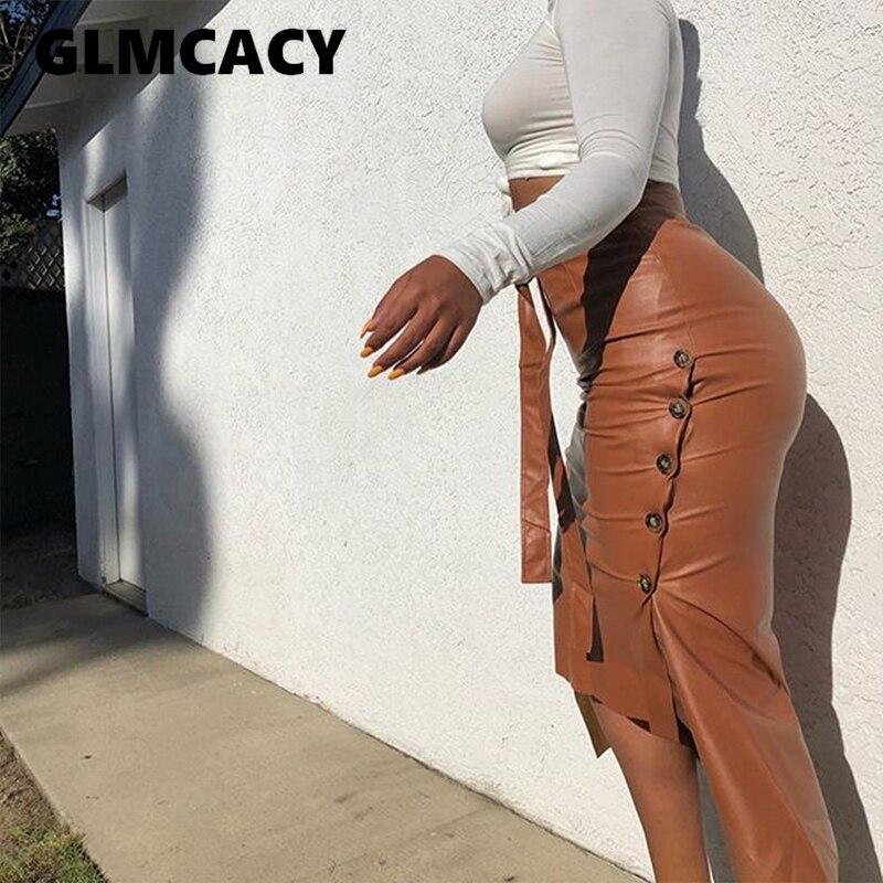 Vrouwen Hoge Taille Bodycon Riem Pu Rokken Slit Sexy & Club Streetwear Potlood Lederen Rok