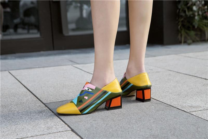 Fedonas 2020 Fashion Prints Vrouwen Synthetisch Leer Hoge Hakken Partij Bruiloft Schoenen Vrouw Vierkante Neus Lente Zomer Basic Pompen