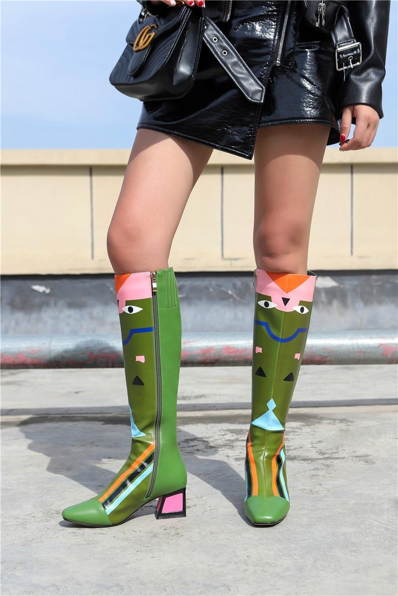 FEDONAS Nieuwe Vrouwen Knie Hoge Laarzen Sexy Prints Party Dancing Schoenen Vrouw Hoge Hakken Lange Warme Hoge Laarzen Dames Mode schoenen