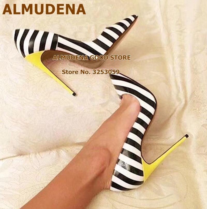 Almudena 12 Cm Geel Hakken Zebra Streep Patroon Bruiloft Schoenen Vrouwen Wit/Zwart Ingekleurd Hoge Hak Pompen Banket Schoenen size45