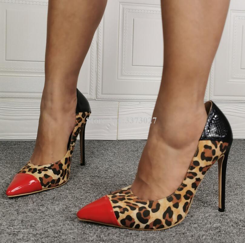 Sexy Luipaard Gemengde Kleur Stiletto Hak Pompen Schoenen Vrouwen Mode Wees Teen Slangenhuid Lederen Enkele Schoenen Dame Hoge Hakken