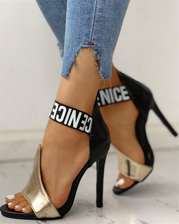 2020 Vrouwen Pompen Hoge Hakken Plus Size Schoenen Dunne Hoge Hakken Vrouwen Zomer Sandalen Vrouwelijke Sexy Party Slip Op Schoenen vrouw