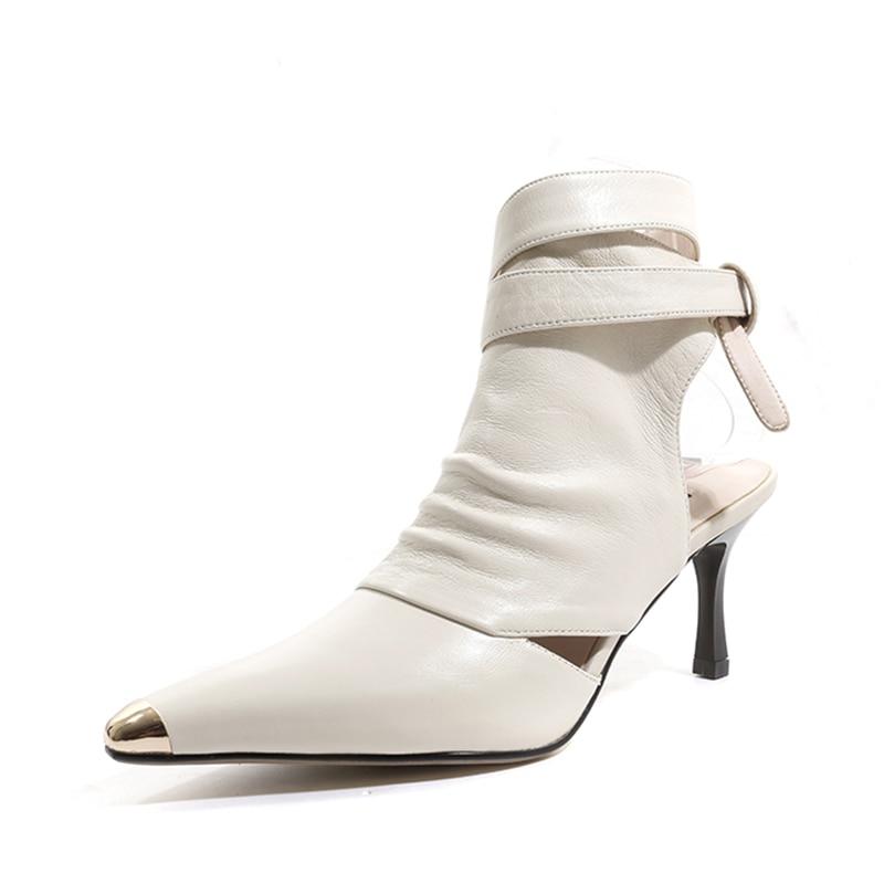 2020 Vrouwen Fashion Design Spitse Neus Lace-Up Gladiator Boots Cut-Out Touw-Up Hoge Hak Enkellaars laarzen Westerse Stijl Straat Schoenen