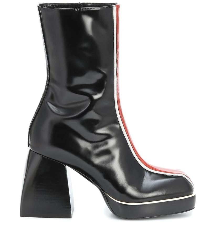 Fedonas 2020 Herfst Winter Vrouwen Mid-Kalf Laarzen Lederen Platform Dikke Hakken Pumps Nieuwste Night Club Schoenen Vrouw hakken