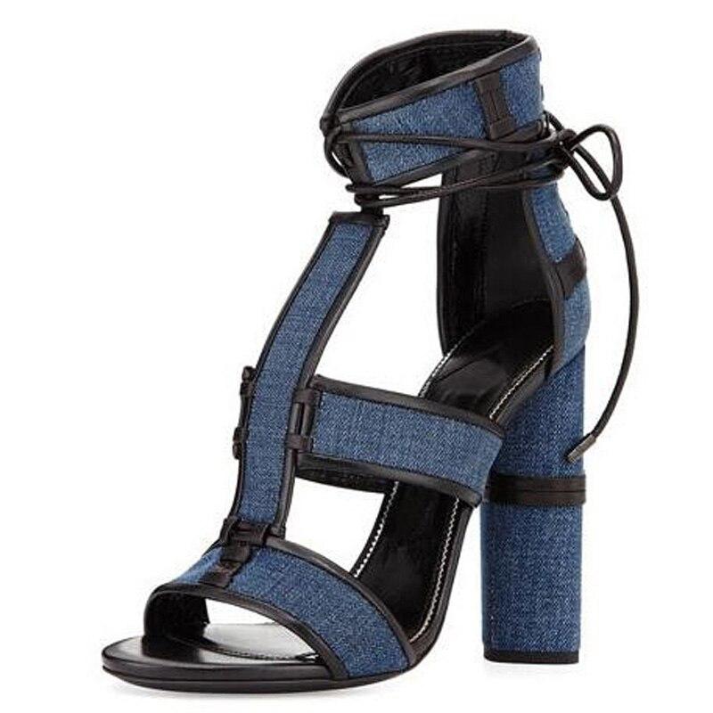 Etnische Retro Dame Jeans Patchwork Chunky Hakken Hoge Hakken Sandalen Open Teen Enkel Wrap Tie Up Vrouw Hakken Sandalen Pompen schoenen