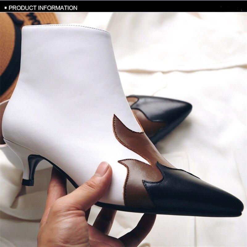 Vankaring Klassieke Gemengde Kleur Schoenen Vrouwen Mode Enkellaarsjes Dames Echt Leer Hoge Hakken Zwart Herfst Winter Laarzen Vrouwen