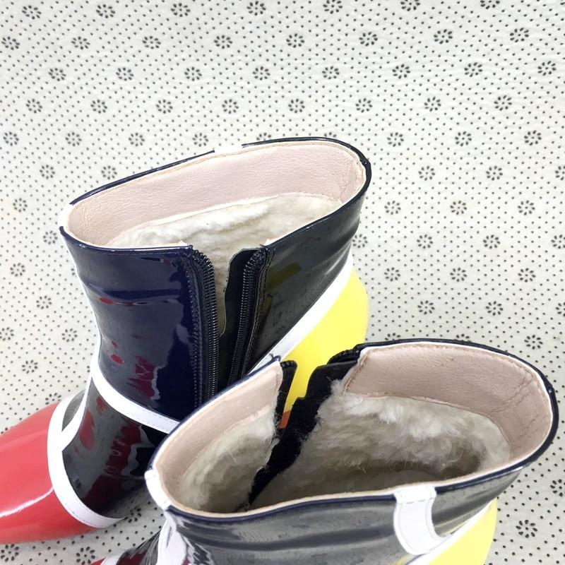 Mode Gemengde Kleur Microfiber Lakleer Enkellaars Voor Vrouwen Vierkante Teen Cowboy Runway Laarzen Vrouwen Hoge Hak Wig Pompen