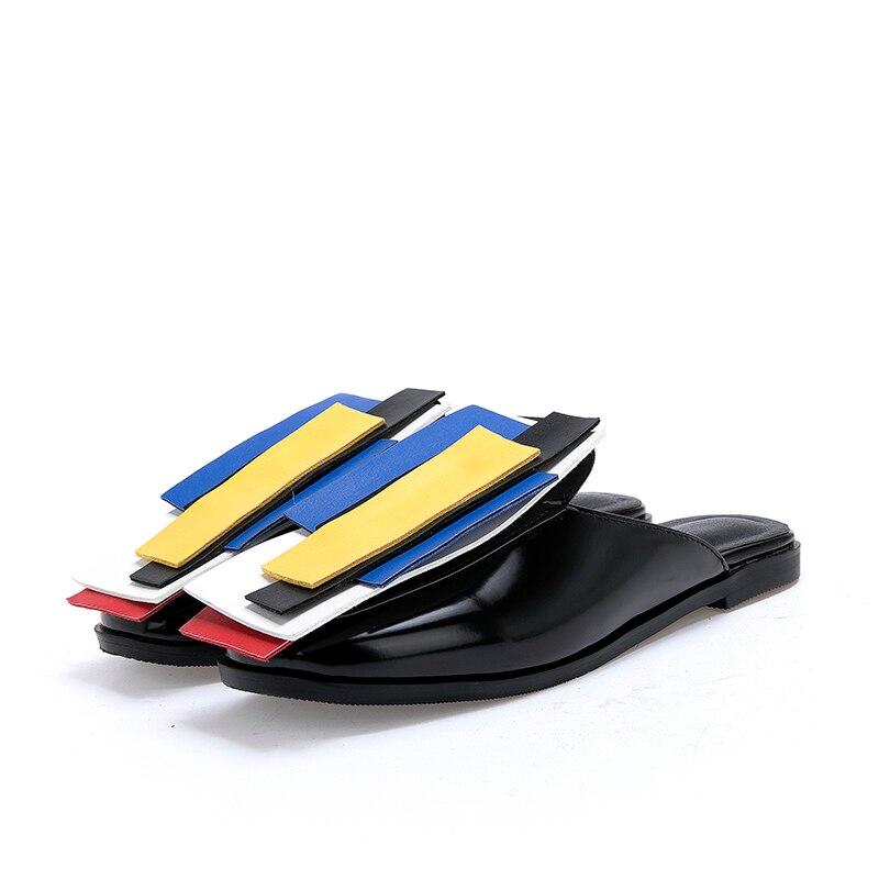 XIUNINGYAN Vrouwen Oxfords Muilezels Flats Schoenen 2019 Herfst Patent Leather Slip-on Flats Casual Gemengde Kleur Schoenen Vrouw Plus size