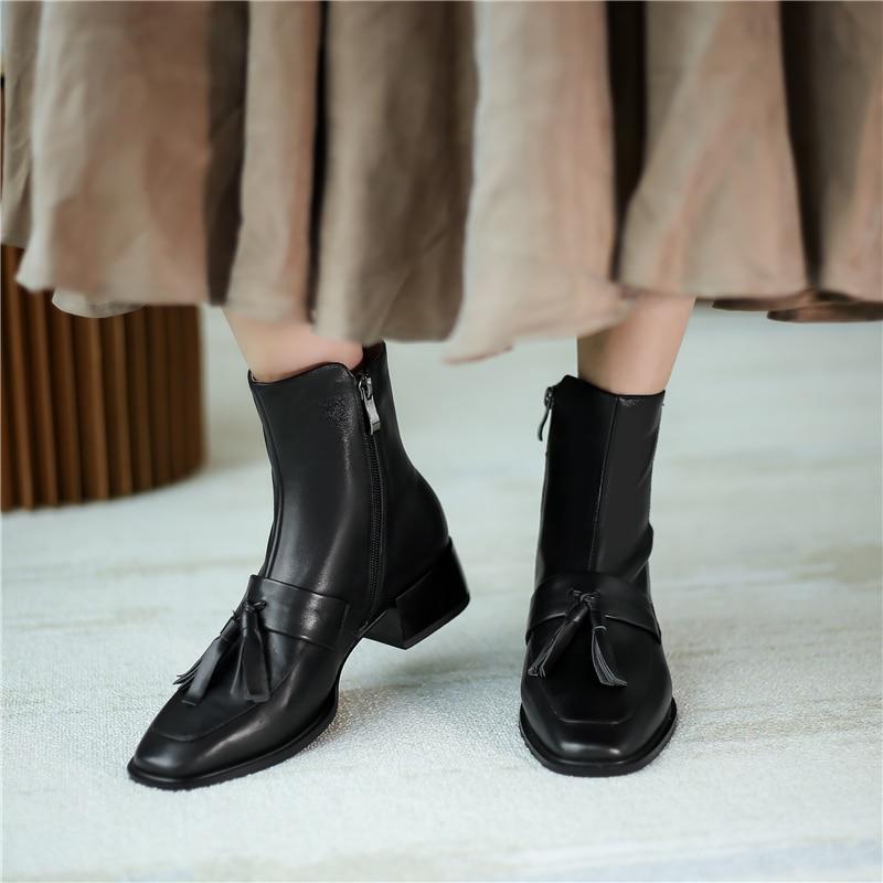 Verconas Nieuwe 2020 Mode Retro Vrouw Enkellaarsjes Echt Leer Fringe Chelsea Laarzen Hoge Kwaliteit Casual Zip Korte Laarzen Vrouw