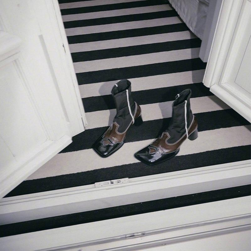 Buono Scarpe Retro Vrouwen Enkellaarsjes Echt Leer Hoge Hak Schoenen Patchwork Elastische Sokken Laarzen Laarsjes Voor Vrouwen 2019