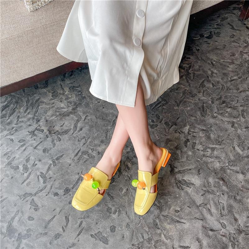 Verconas 2020 Mode Muilezels Vrouw Sandalen Vrouw Pompen Klassieke Ontwerp Lederen Vierkante Teen Vierkante Hoge Hakken Schoenen Vrouw