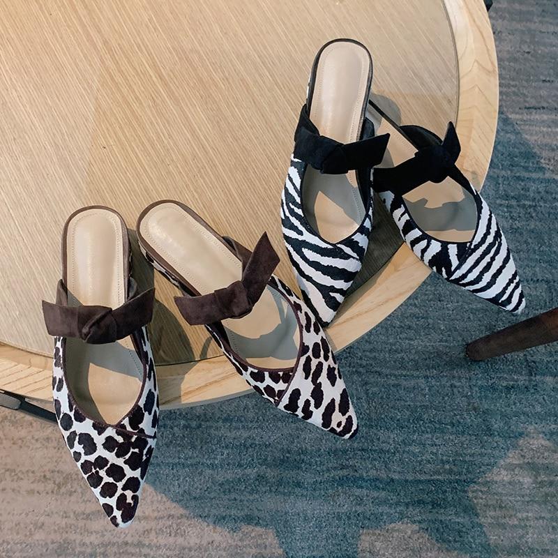 Vrouwen Paardenhaar Slip-On Flats Muilezels Vlinderdas Spitse Neus Vrouwelijke Zachte Comfortabele Zomer Slides Casual Daily Sandalen schoenen Vrouwen