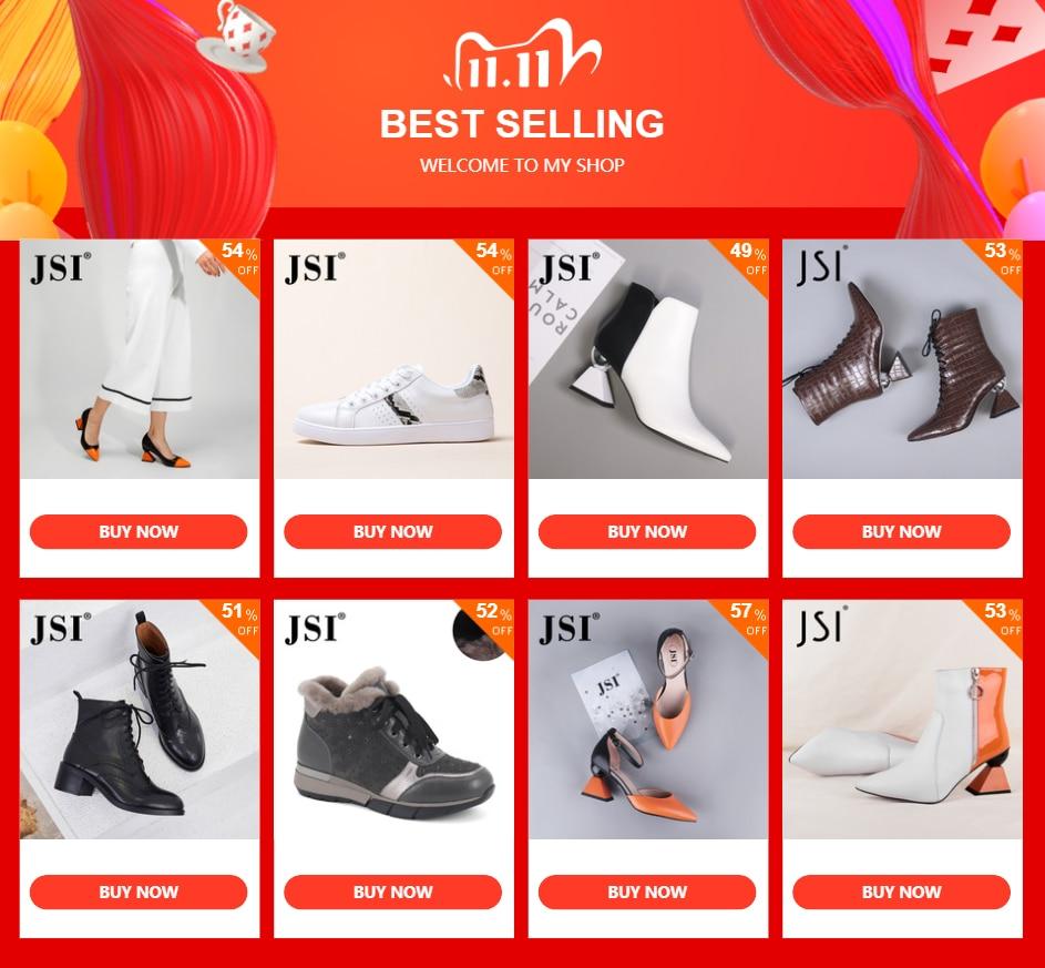 Jsi Schoenen Vrouw Wees Teen Hoge Hakken Gemengde Kleuren Vreemde Stijl Echt Lederen Dames Schoenen Slip-On Pompen Vrouwen schoenen Jc320