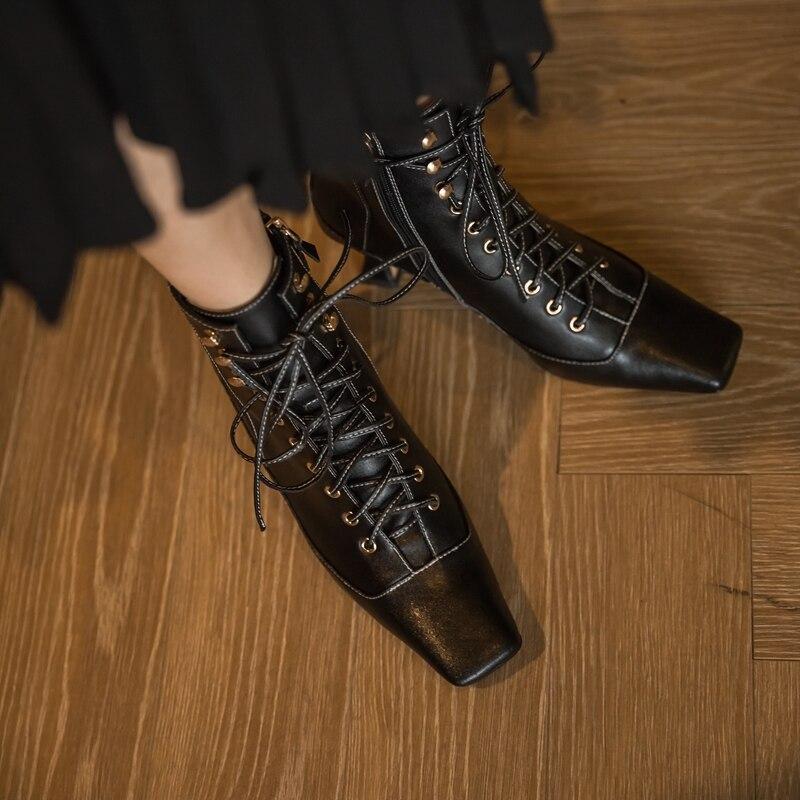 Vrouwelijke Kruis Gebonden Echt Leer Vrouwen Winter Laarzen Mode Nieuwste Hoge Hakken Pompen 2020 Herfst Nieuwe Partij Bruiloft Schoenen vrouw