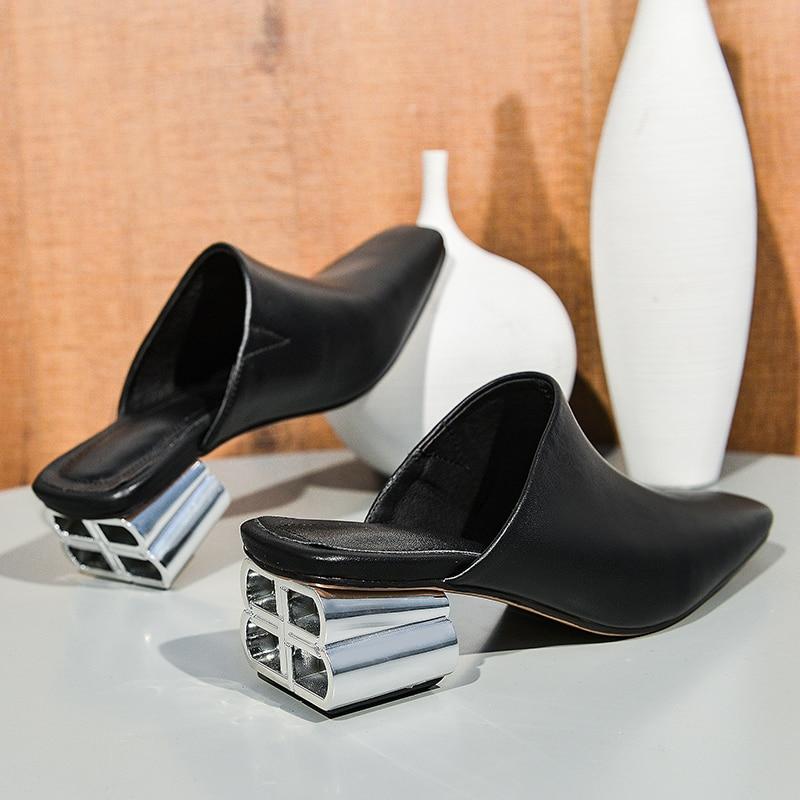 Mstacchi Mode Lente Zomer Metalen Decoratie Hoge Hakken Half Slippers Vrouw Echt Leer Effen Kleur Korte Teen Pompen Vrouw