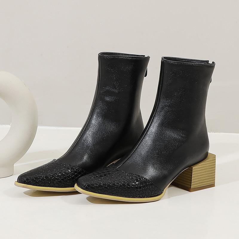 2020 Vrouwen Gemengde Kleuren Western Laarzen Mode Rits Suqare Hak Enkellaars Dame Comfort Vierkante Neus Herfst Winter Korte Laarzen