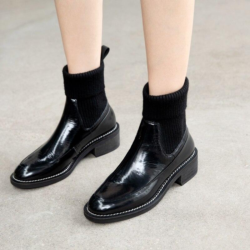 2020 Nieuwe Zoete Vrouwelijke Chelsea Korte Laarzen Lederen Vierkante Hakken Vrouwen Warm Sokken Enkellaarsjes Dansen Partij Schoenen Vrouw