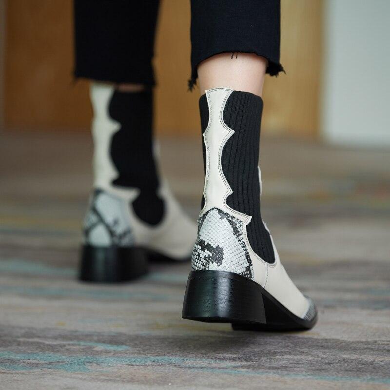 Vrouwen Enkellaarsjes Echt Leer Patchwork Sok Schoenen Vrouw Hoge Hak Snake Leather Stretch Elastische Korte Laarzen Voor Dames 2020