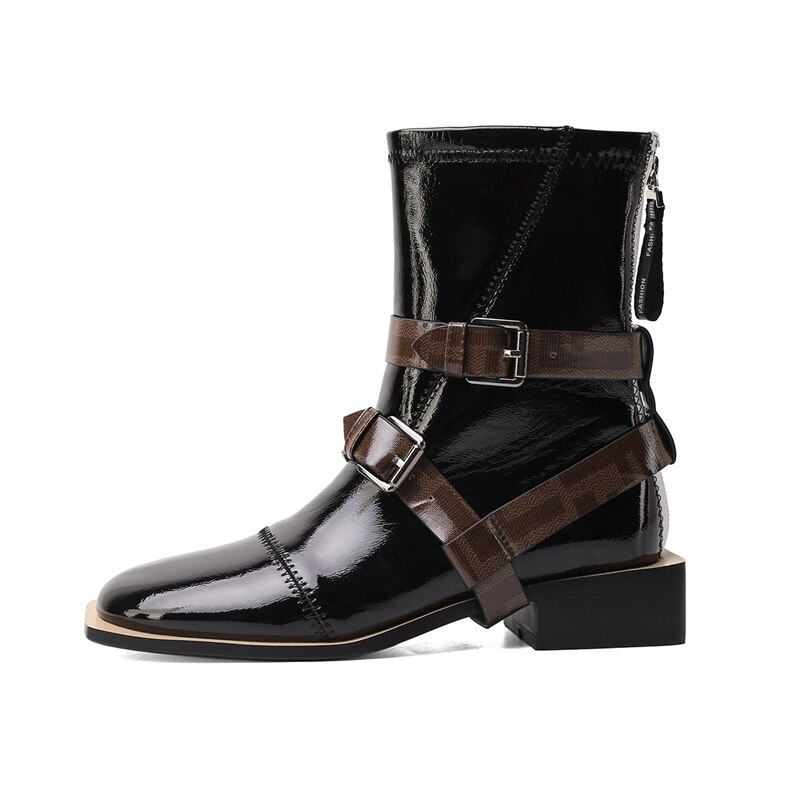2020 Herfst Winter Mode Gesp Laarzen Effen Hoge Kwaliteit Echt Leder Comfortabele Ronde Neus Schoenen Nieuwe Enkel Vrouwen Laarzen