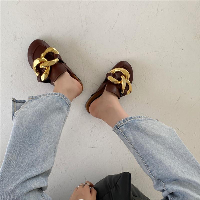 Eilyken Gouden Ketting Decor Ronde Neus Flat Mules Luie Loafers Schoenen Vrouwen Outdoor Gezellige Zacht Leer Toevallige Slippers Vrouwelijke schoenen