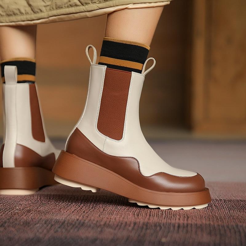 Morazora 2021 Nieuwe Mode Laarzen Schoenen Echt Lederen Laarzen Vrouwen Comfortabele Platte Hak Ronde Neus Platform Schoenen Vrouw