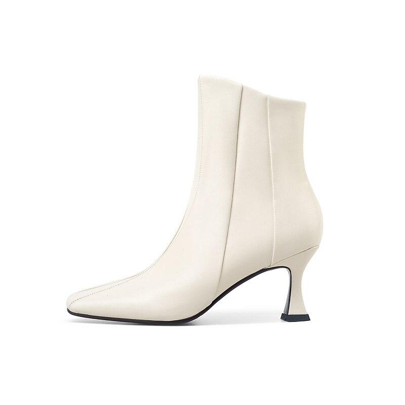 Morazora 2020 Nieuwe Collectie Hoge Hakken Laarzen Vrouwen Mode Vierkante Teen Met Zip Dames Schoenen Herfst Winter Enkellaarsjes Voor vrouw