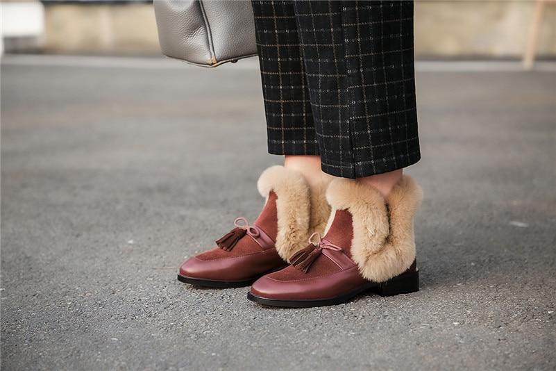 Fedonas Mode Vrouwen Echt Lederen Enkellaars Vlinder-Knoop Casual Basic Schoenen Vrouw Nieuwe Herfst Winter Korte Snowboots