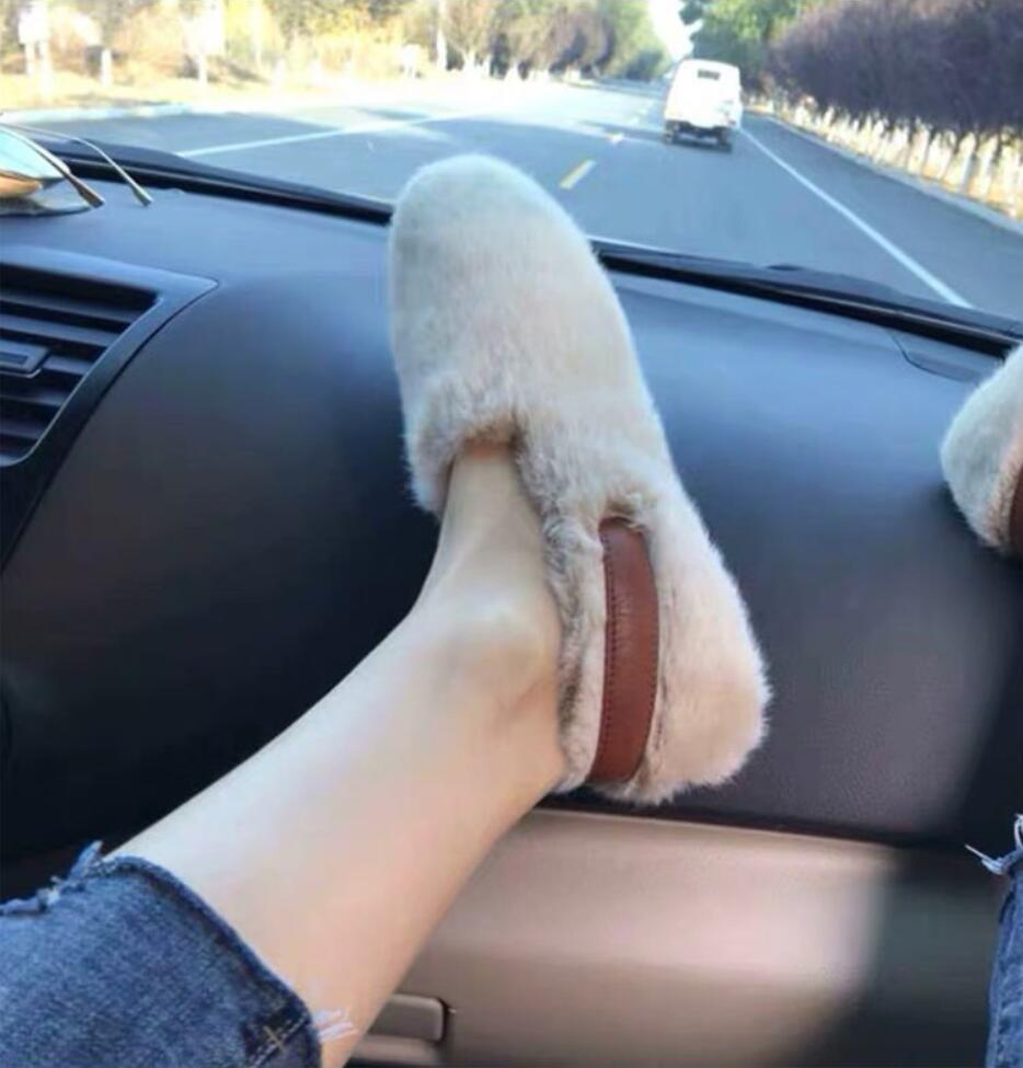 2021 Platte Vrouwen Schoenen Mode Suède Konijnenbont Casual Schoenen Vrouwen Herfst Winter Ballet Schoenen Vrouw Loafers Plus Size 35-40