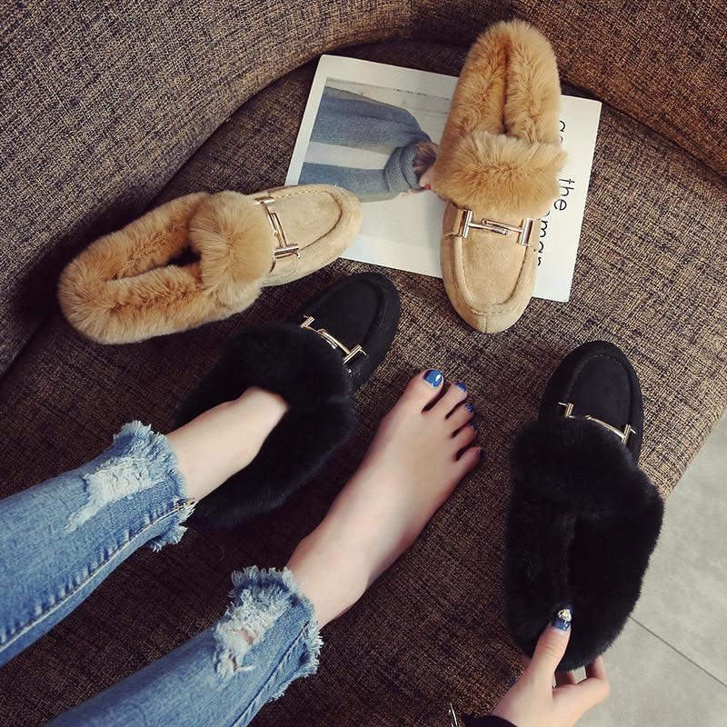 Schoenen Vrouwen Winter Flats Harige Instappers Metalen Decoratie Ronde Neus Schoenen Casual Slip Op Konijnenbont Slides Big Size Zapatos mujer