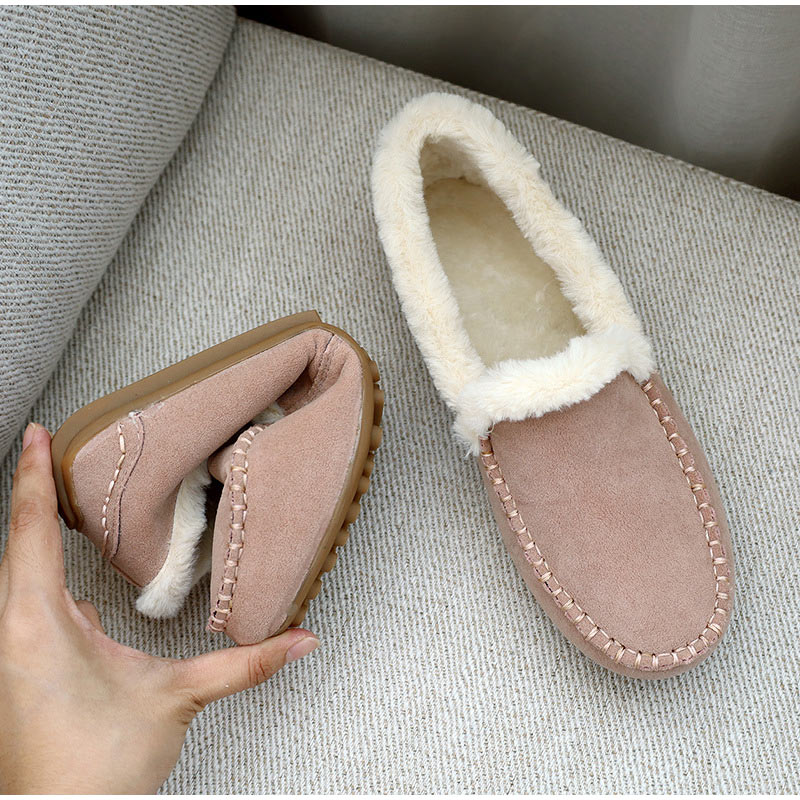 Vrouwen Warm Mocassin Schoenen Pluche Winter Dames Causale Zachte Bodem Antislip Vrouw Naaien Suède Vrouwelijke Instappers Mode Flats Nieuwe