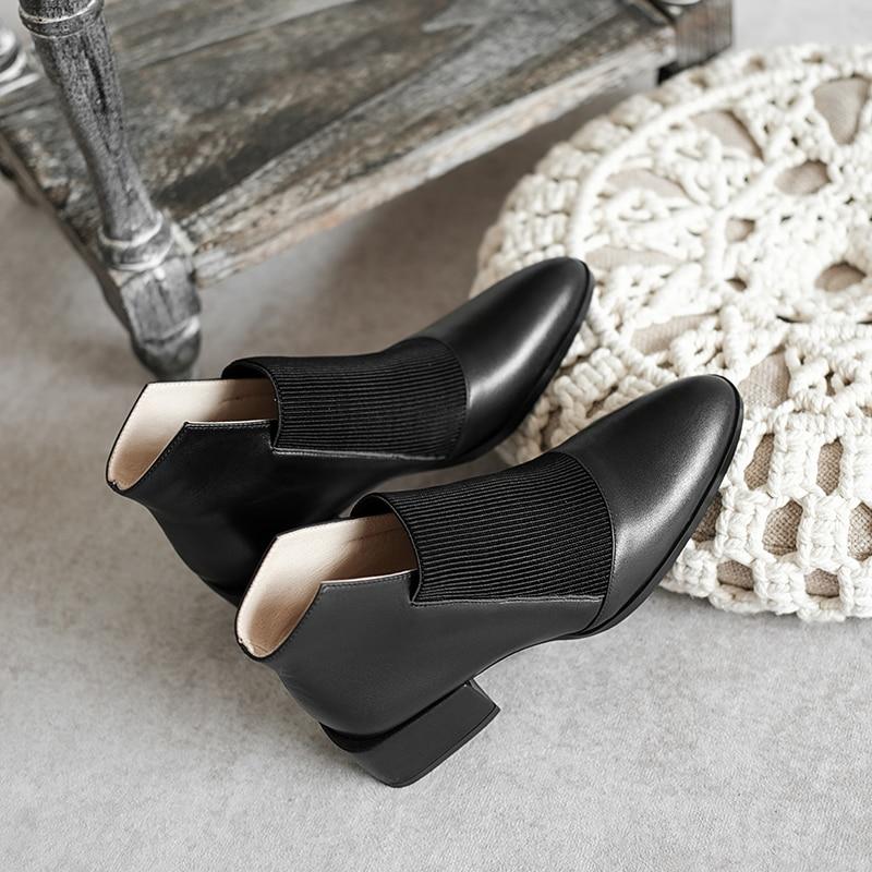 Morazora 2020 Vrouwen Laarzen Vierkante Hakken Ronde Neus Gemengde Kleuren Dames Schoenen Echt Lederen Enkellaarsjes Voor Vrouw Zwart