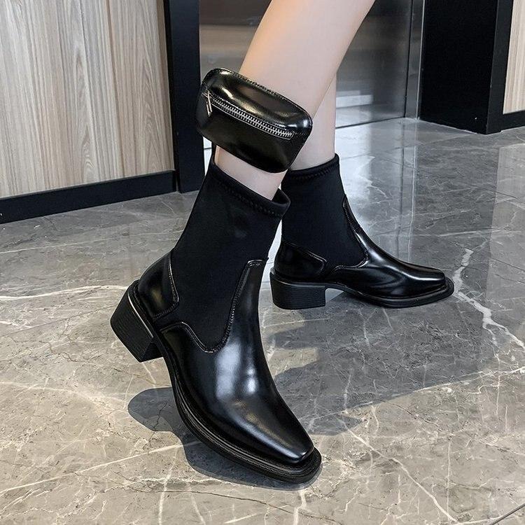 2020 Luxe Chelsea Laarzen Vrouwen Platform Dames Laarzen Chunky Winter Schoenen Korte Enkellaarsjes Dikke Hak Merk Designer Pu Leer