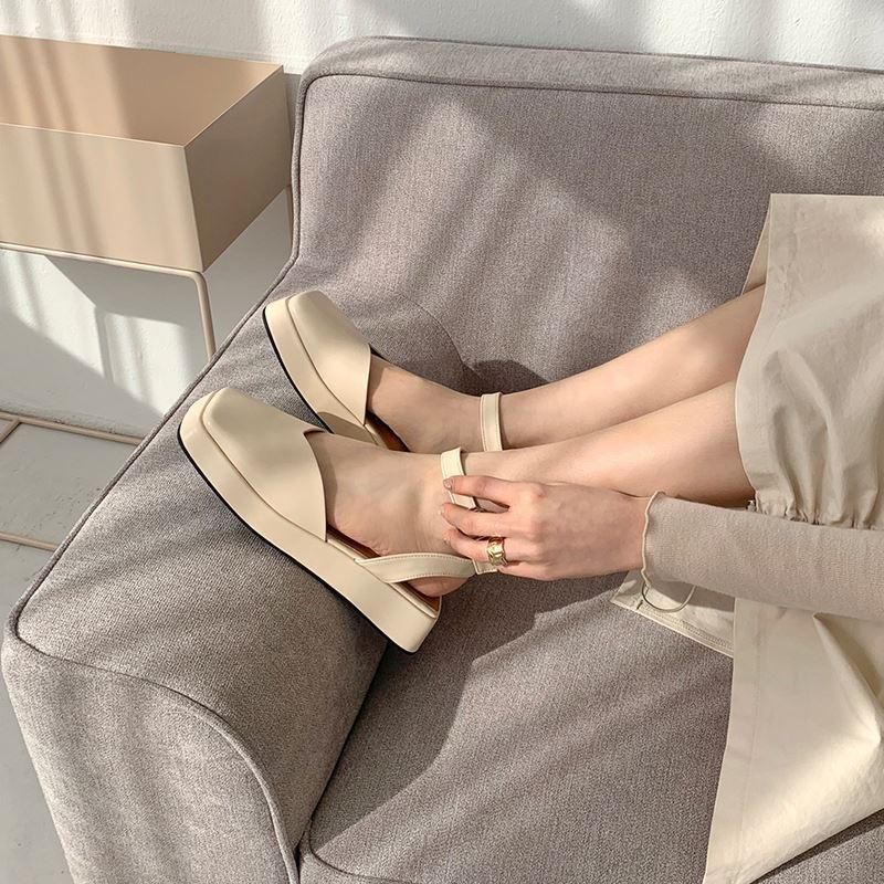 Vintage Vierkante Teen Platform Sandalen Vrouwen Slingback Wiggen Zomer Schoenen Vrouwelijke Koreaanse Ontwerp Enkelband Muffins Sandalias Mujer