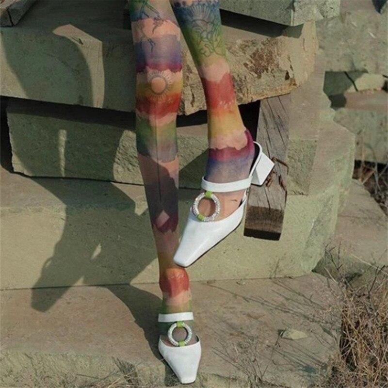 Cirkel Strass Vrouwen Slippers Vierkante Teen Hoge Hakken Dames Muilezels Zomer Gladiator Sandalen Casual Slides Outdoor Slipper