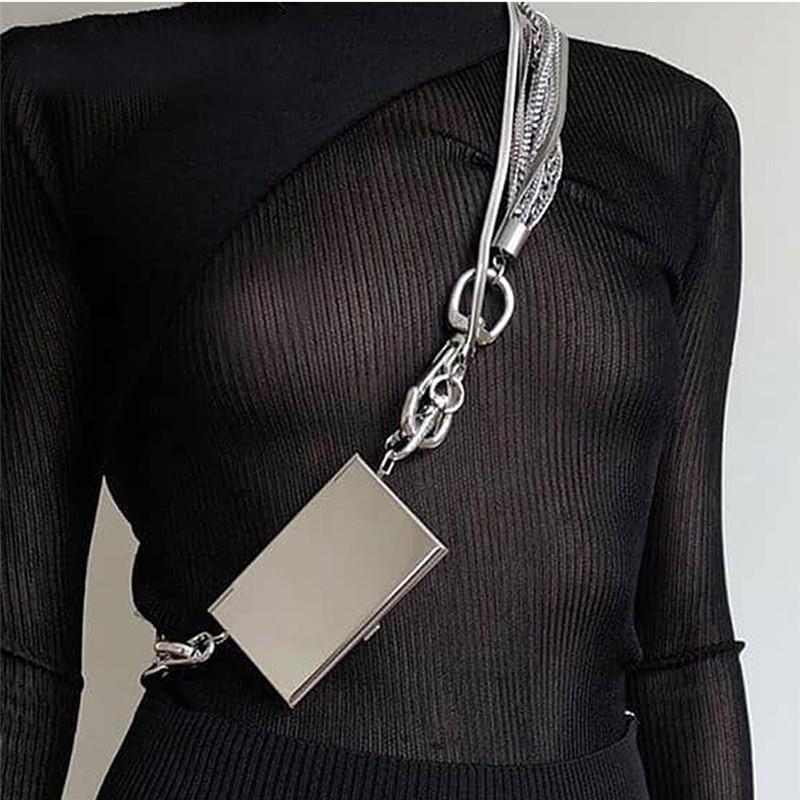 Multifunctionele Metalen Multi-layer Keten Kaarthouder Mini Minimalistische Diamant Vrouwen Schouder Crossbody Tassen Purse Sac A Main Femme