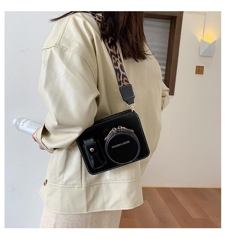 Mode Camera Vorm Vrouwen Schoudertassen Designer Wide Leopard Bandjes Messenger Bag Luxe Pu Lederen Crossbody Tassen Chic Portemonnees