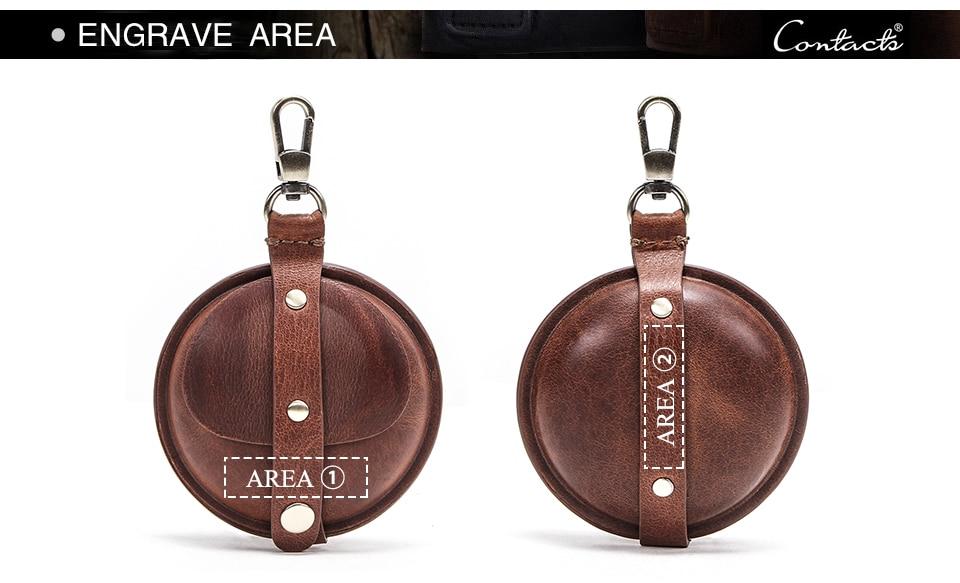 Contact 'S Crazy Horse Lederen Heren Portemonnee Multifunctionele Mini Portemonnee Vintage Kleine Geld Tassen Voor Oortelefoon Hoge Kwaliteit