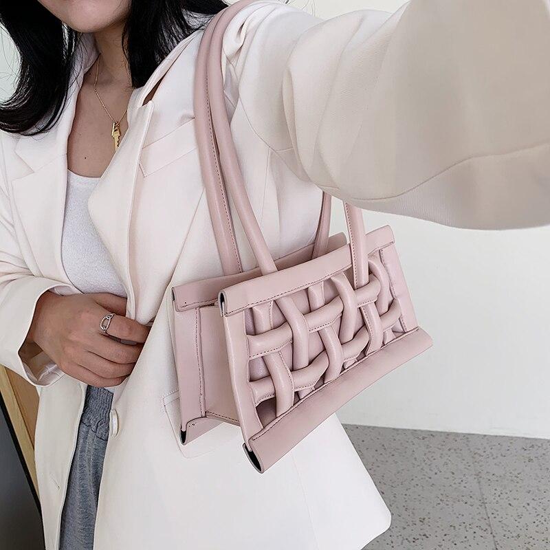 Wafel Pu Lederen Schoudertassen Voor Vrouwen 2020 Kleine Handtassen Vrouwelijke Candy Kleur Hand Dame Mode Handtas