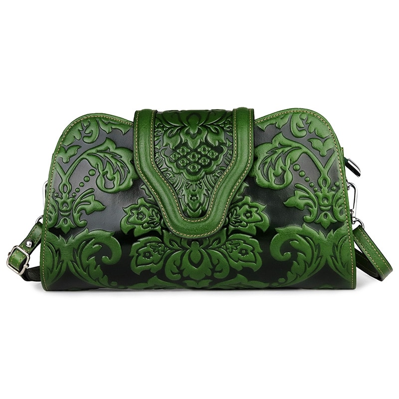 Groen/Oranje Dames Echt Lederen Handtas Mode Embossing Bloem Vrouwen Messenger Bags Mode Kleine Vrouwelijke Schoudertas Purse