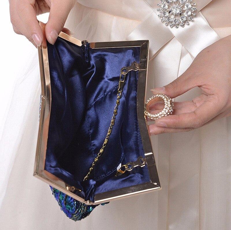 2020 Pauw Clutch Handtas, Rood Groen Goud Paillette Borduren Dames Avondtasje Wedding Party Purse Make Koppelingen WY23