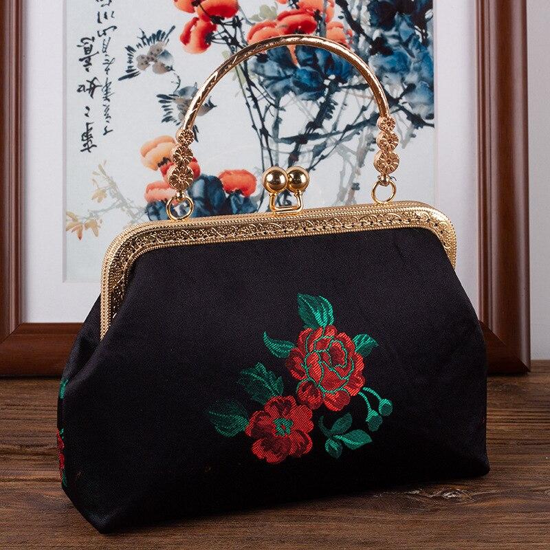 Alasir Retro Borduren Bloemen Frame Zakken Chinese Stijl Elegante Handtas Vrouwen Schoudertassen Vintage Etnische Cheongsam Zwarte Tas