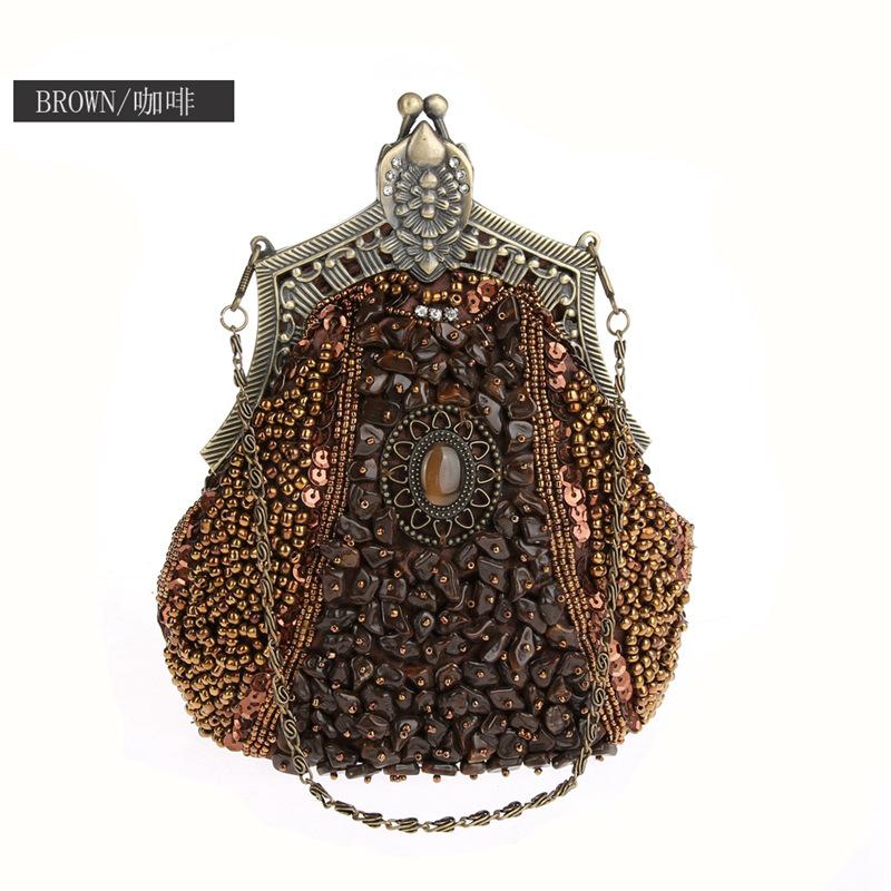 2020 Vintage Handgemaakte Kralen Boho Avondtasje Vrouwen Clutch Bag Delicate Banket Zakken Bruid Party Purse ChainWY09