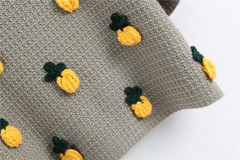 Kpytomoa Vrouwen 2020 Mode Ananas Patroon Gebreide Trui Vintage O Hals Korte Mouwen Vrouwelijke Truien Chic Tops