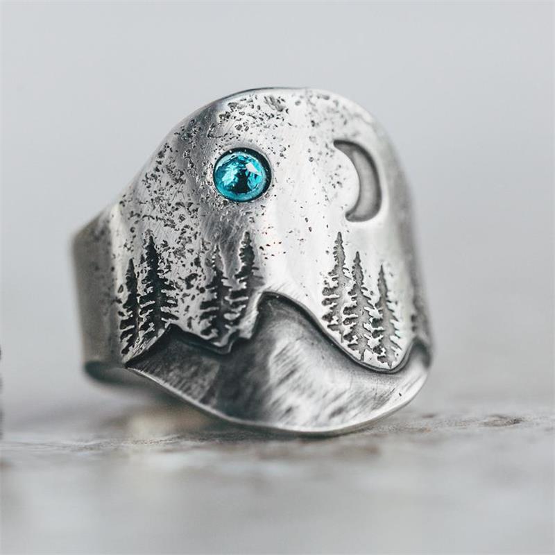 Mode Zilveren Kleur Natuur Mountain Range Ring Party Trouwringen Voor Vrouwen Vrouwelijke Klassieke Boho Sieraden
