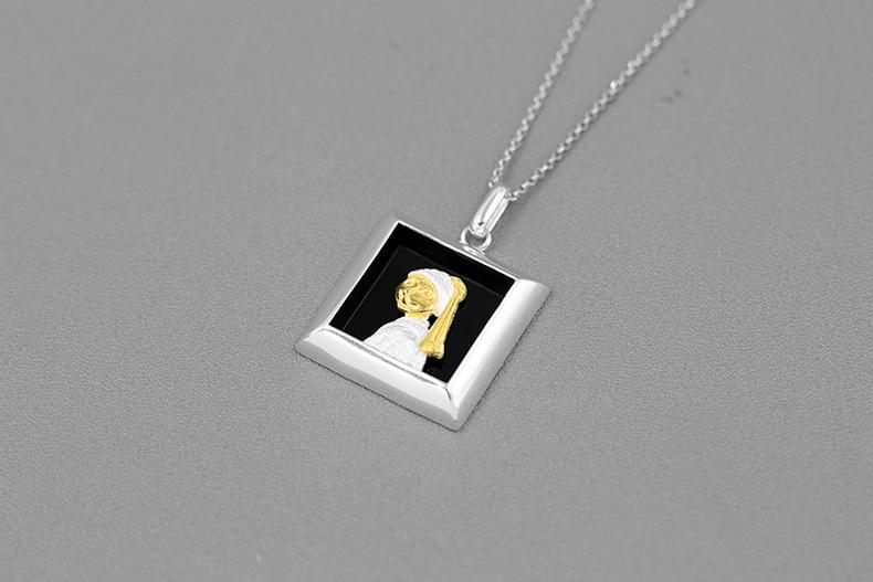 Inature 925 Sterling Zilveren Sieraden Natuurlijke Zwarte Agaat Meisje Met De Parel Kat Ketting Hanger Voor Vrouwen Gift