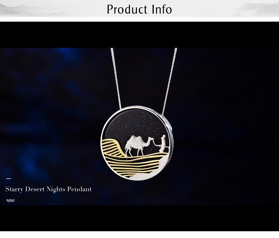 Lotus Fun Starry Woestijn Nachten 18K Gouden Hanger Zonder Ketting Echte 925 Sterling Zilveren Handgemaakte Fijne Sieraden Voor Vrouwen gift