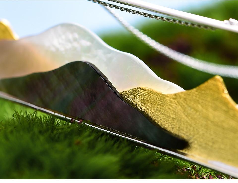 Lotus Plezier Echte 925 Sterling Zilver Natuurlijke Schelp Handgemaakte Fijne Sieraden Multipeaked Mountain Ontwerp Hanger Zonder Ketting