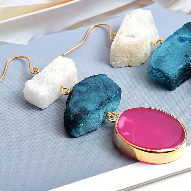 Nieuwe Collectie Kleurrijke Onregelmatige Natuursteen Lange Oorbellen Hoge-Kwaliteit Mode Trend Drop Earring Groothandel Sieraden Voor Vrouwen