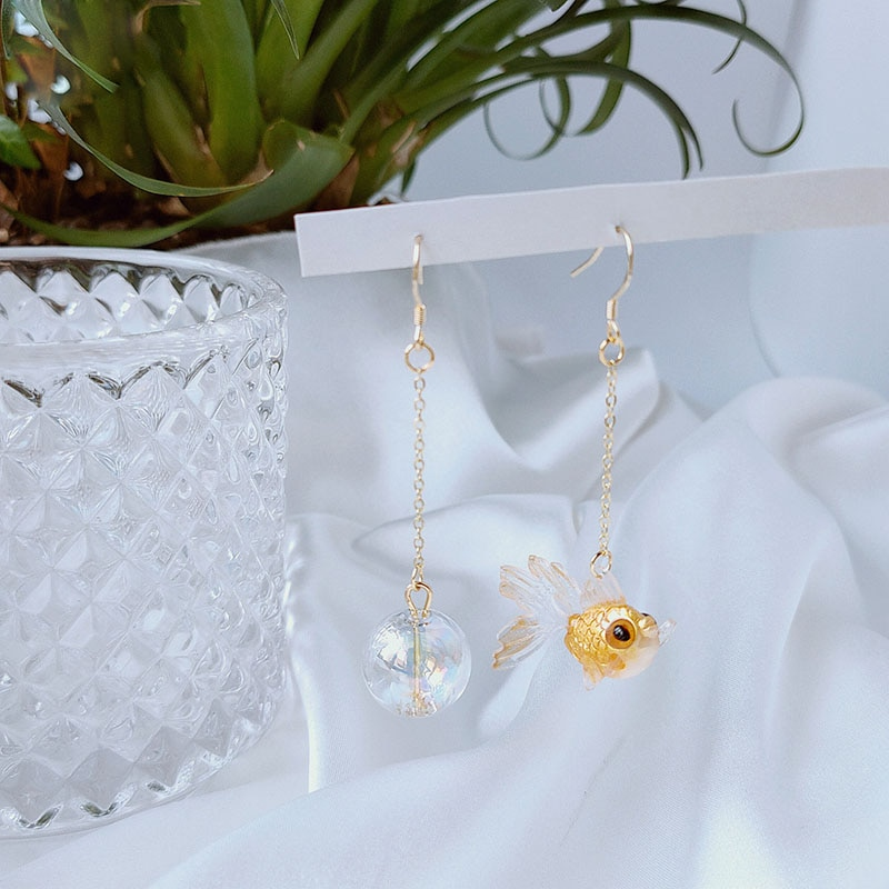 Originele Gouden Vis Dangle Oorbellen Voor Vrouwen Creative Bubble Asymmetrische Drop Oorbellen Sieraden Oorbellen 2020 Femme Bijoux